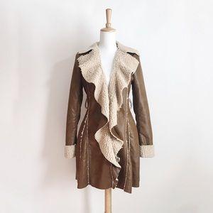 NWT Ryu Tan Faux Leather Shearling Coat Size Large